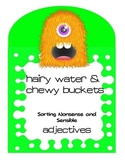 Adjectives Center Activity - Monsters Sensible and Silly Adjectives