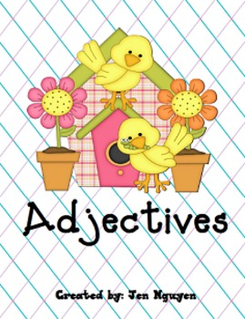 Adjectives - Center Game, Worksheets, Hallway Activity, Assessments