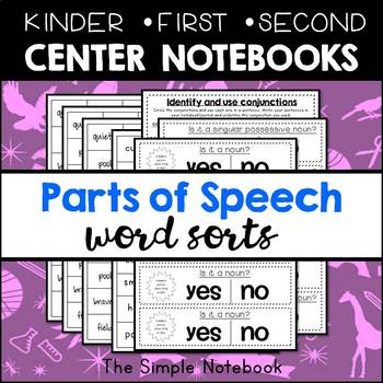 Parts of Speech Sorts for Notebooks