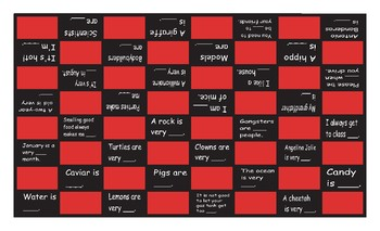 Adjectives Legal Size Text Checkerboard Game