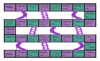 Adjectives Legal Size Text Chutes and Ladders Game