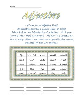 Adjectives Class Hunt