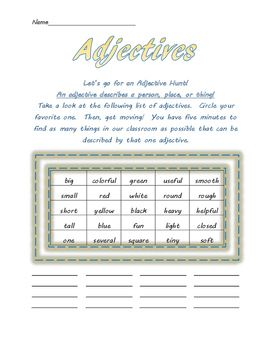 Adjectives Class Hunt