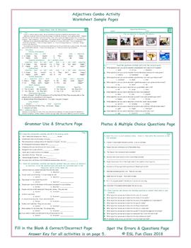 Adjectives Combo Activity Worksheets