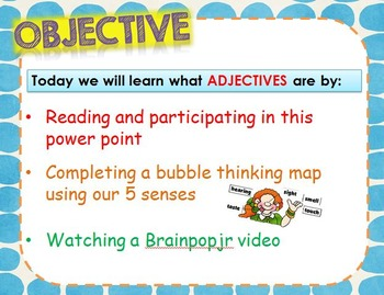 Adjectives Common Core Bubble Map