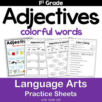Adjectives Common Core Practice Sheets L.1.1.F
