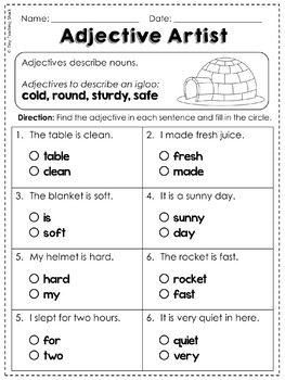 Adjectives Common Core Practice Sheets L.1.1.F by Tiny Teaching Shack
