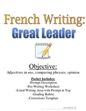 Adjectives, Comparing French Writing Prompt: Rubric and Pre-Writing Included