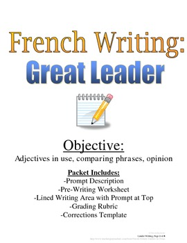 Adjectives, Comparing French Writing Prompt: Rubric and Pr