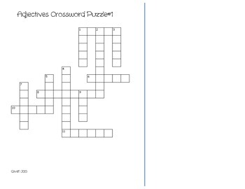 Adjectives Crossword Puzzles-Identify the Adjective in a Sentence