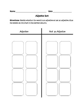 Adjectives: Cut, Sort, & Paste Activity
