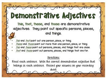 Demonstrative Adjective Task Cards - This, That, These, Those