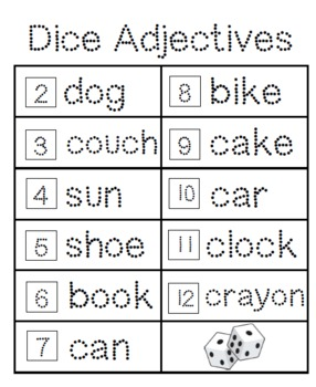 Adjectives-Dice Game