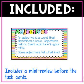 Adjectives Digital Task Cards for Google Slides