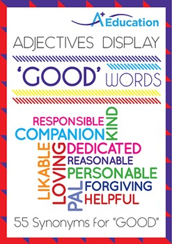 """Adjectives Display - Synonyms for """"GOOD"""""""