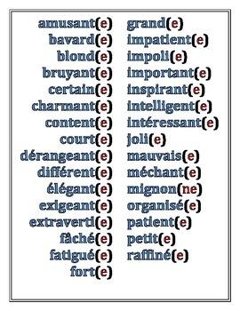 Adjectives, ER verbs, and J'aime/Je n'aime pas/J'adore/de