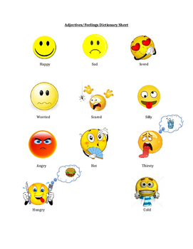 Adjectives/Emotions Reference Sheet