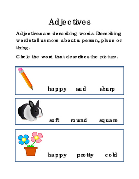 Adjectives English Language Arts Literacy Reading Comprehension Printable 2pages