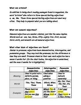 Grammar Worksheets - Adjectives