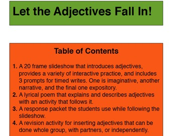 Adjectives Falling In