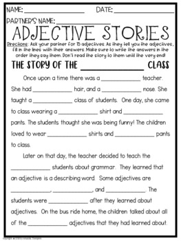 Adjectives Stories FREEBIE
