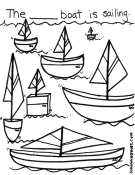 Adjectives - Fill in the Blank Coloring Page - Boats - Vocabulary