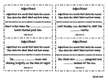 Adjectives Fill in the Blank Task Cards (or Scoot Activity)