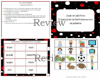 Adjectives Folder Games and Interactive Notebook Activities