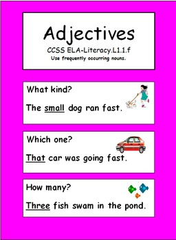 Adjectives: Grade 1 CCSS ELA-Literacy L.1.1.f by Jan Ayotte's ...
