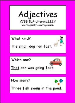 Adjectives: Grade 1    CCSS ELA-Literacy L.1.1.f