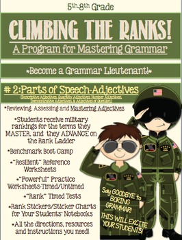 Grammar-Adjectives Handouts, quizzes-Climbing the Ranks!