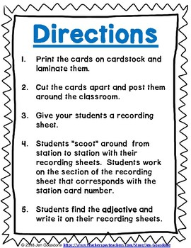 Adjectives Grammar SCOOT or Task Cards