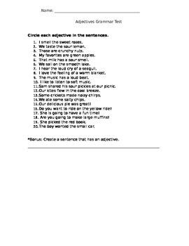 Adjectives Grammar Test