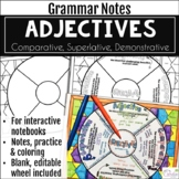 Adjectives Grammar Wheel with Editable Wheel