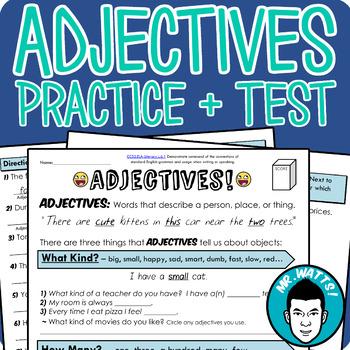 Adjectives Grammar Worksheet Packet + Test