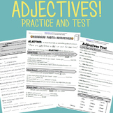 Adjectives Grammar Worksheet Packet + Test