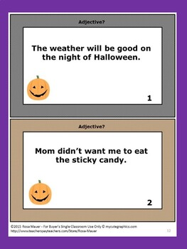 Halloween Adjectives Task Cards and Worksheets Parts of Speech Review