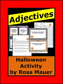 Adjectives Halloween Theme Task Cards and Worksheets Parts