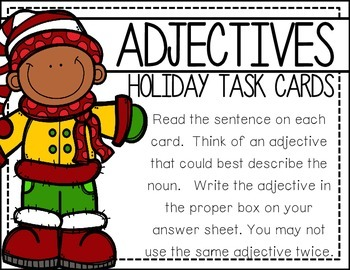 Adjectives: Holiday Task Cards