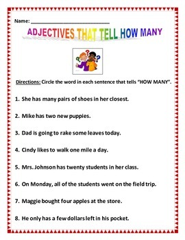 Adjectives How Many - 3 pages of 8 questions - Common Core