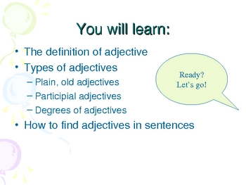 Adjectives: Interactive PowerPoint with Quizzes/Review