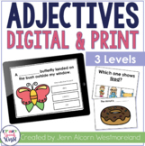 Adjectives Interactive & Print Task Cards - Distance Learning