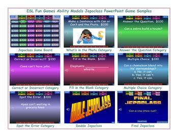 Adjectives Jeopardy PowerPoint Game Slideshow