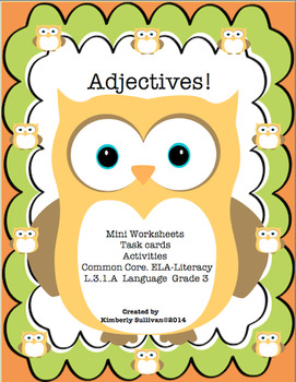 Back to School Adjectives Task Cards Common Core Grade 3 Centers Early Finishers
