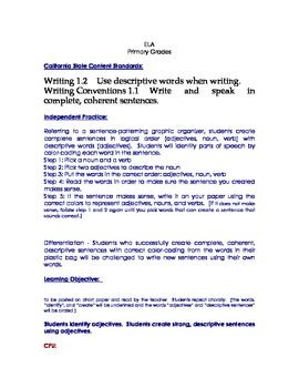 Adjectives Lesson Plan, Literacy Center Resource, Parts of Speech