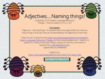 Adjectives!  Lets name things!