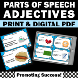 Adjective Task Cards, Grammar Practice, Parts of Speech Games SCOOT
