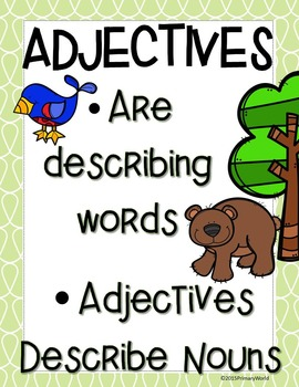 Adjectives- Mini Books Forest Friend Theme Common Core