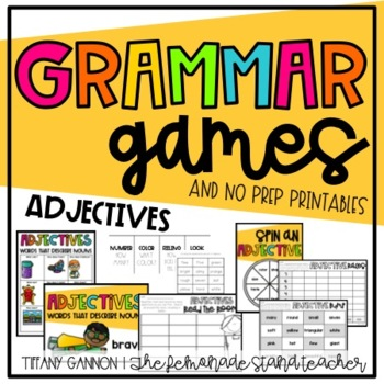 Adjectives Grammar Games and No Prep Printables Distance Learning