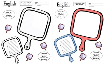 English / ESL Adjectives Mirror Sketch Activity
